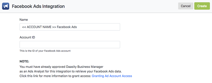 Account Setup - Facebook Ads Integration