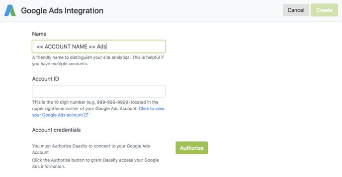 Account Setup - Google Ads Integration