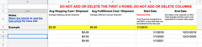 Brand Supplied Data Shipping And Fulfillment Cost