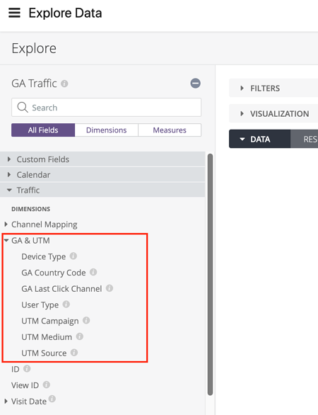 Find UTM and Channel Info in Daasity - Explore Data UTM