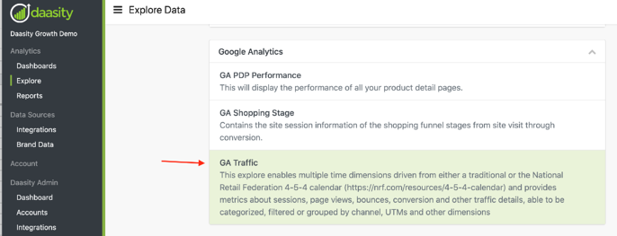 Find UTM and Channel Info in Daasity - GA Traffic