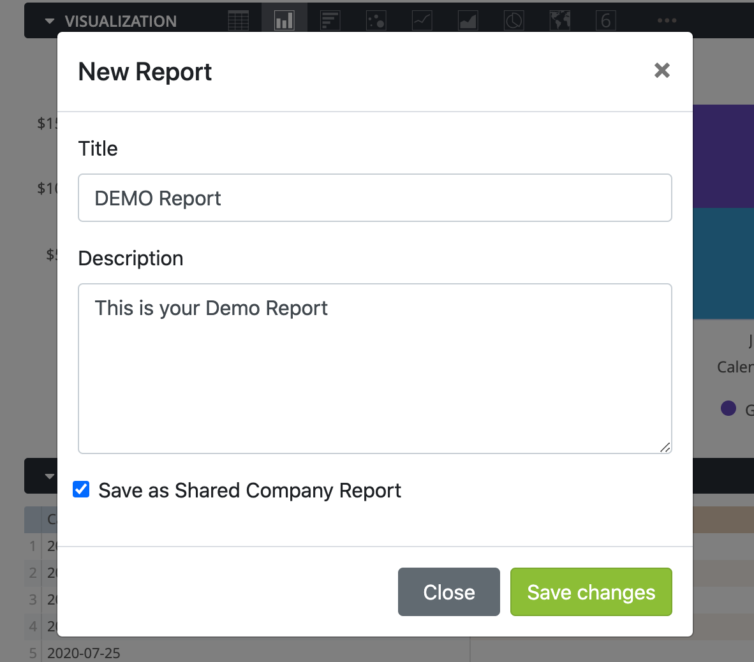 Creating & Saving Reports - New Report