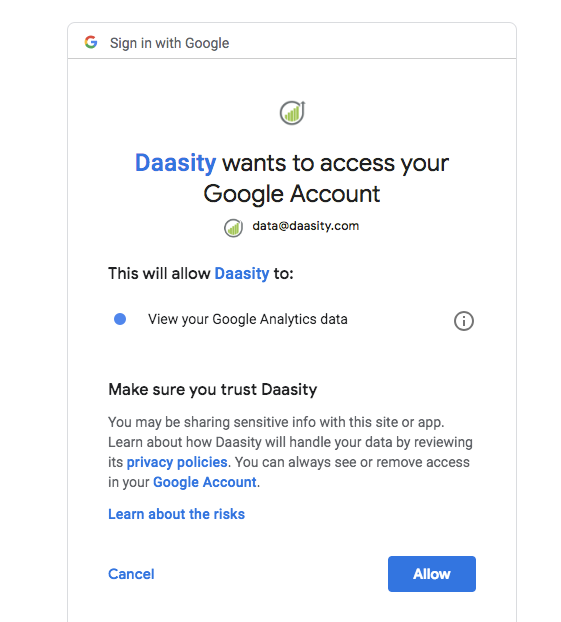 Add Data Integrations to New Daasity Growth Account - Google