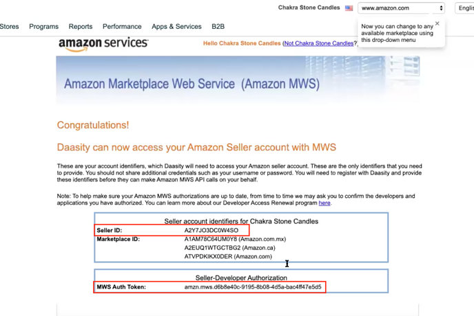 Add Data Integrations to New Daasity Growth Account - MWS