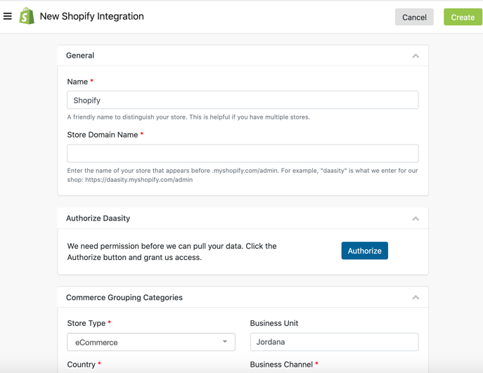 Add Data Integrations to New Daasity Growth Account - Shopify Integration