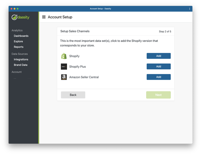Add Data Integrations to New Daasity Growth Account - Shopify