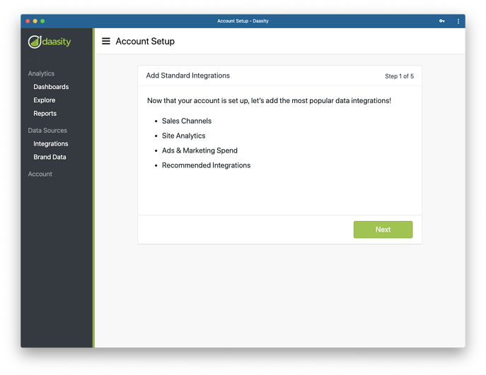 Add Data Integrations to New Daasity Growth Account