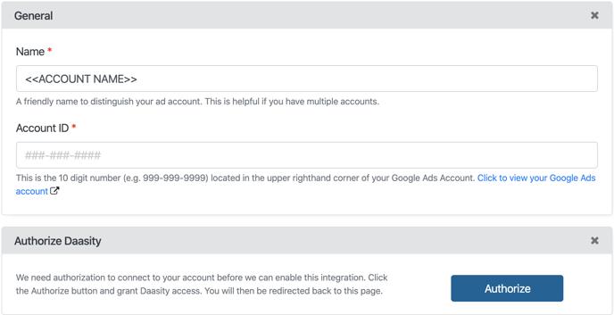 Google Ads Setup - Account