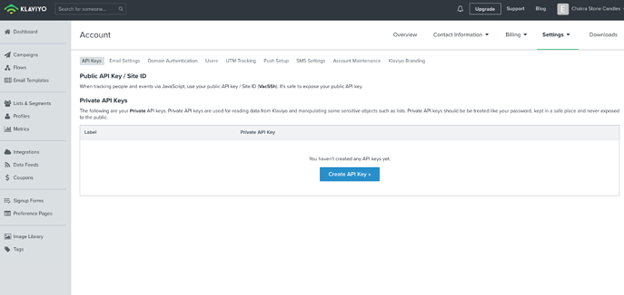 Klaviyo Integration Setup - API