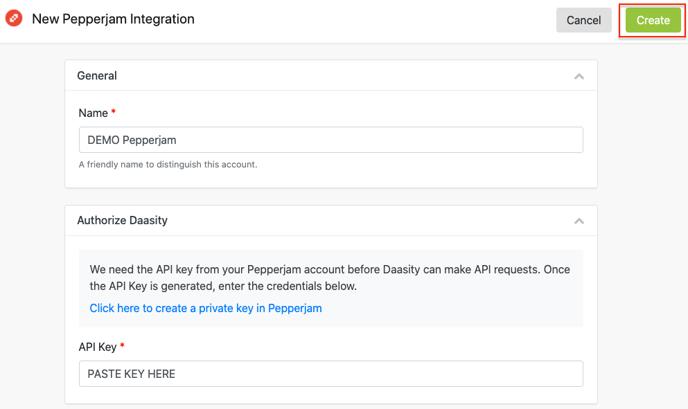 Pepperjam Integration Setup - Create